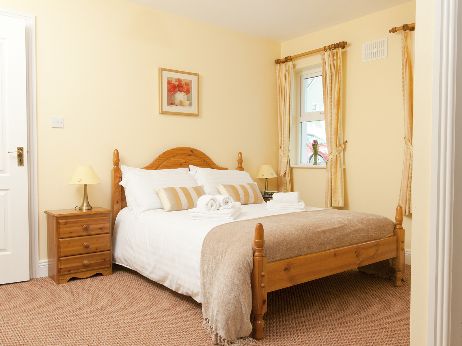 Double bed in self-catering cottage