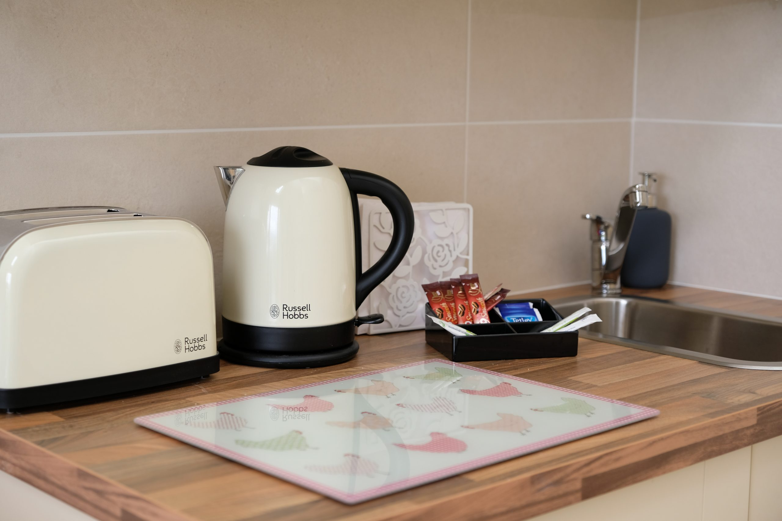 Kitching worktop with electrical appliances