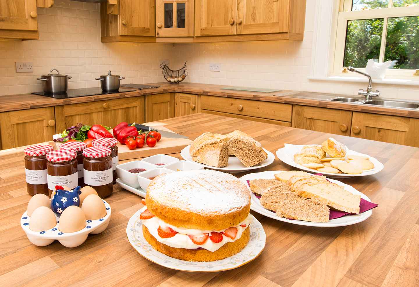 Freshly made scones, cakes and jam