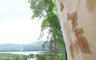 Looking at Blessington lakes through a window